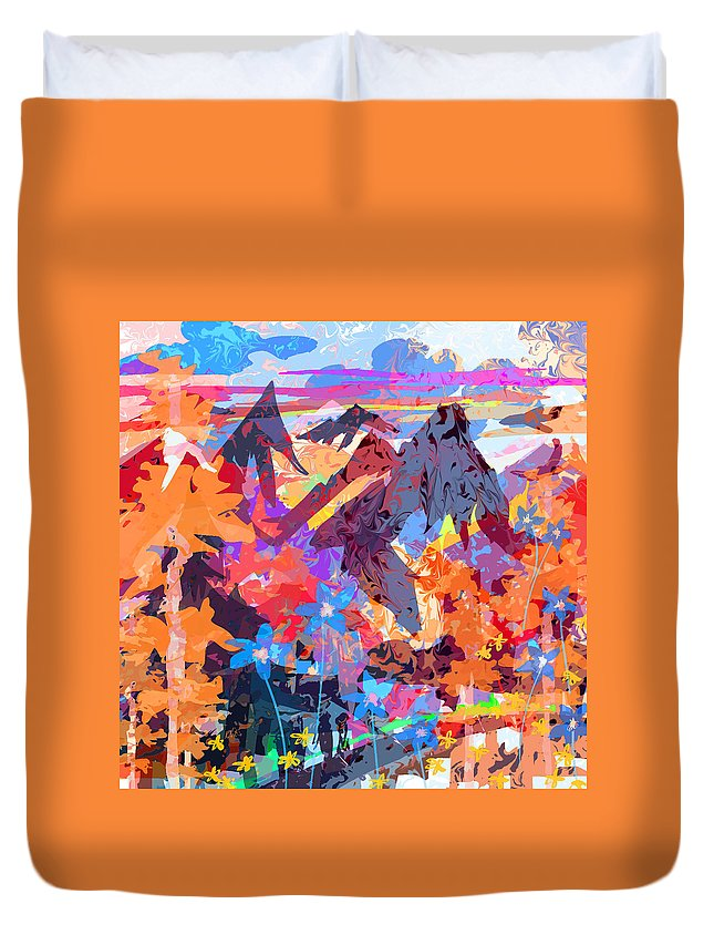Abstract Duvet Cover featuring the digital art Lost In Colorado by Rachel Christine Nowicki