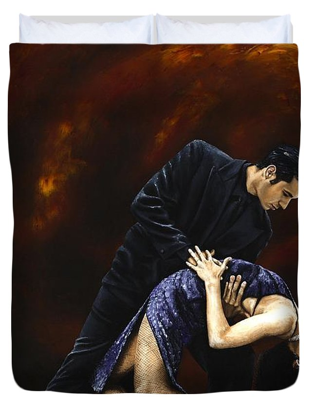 Tango Duvet Cover featuring the painting Lost In Tango by Richard Young