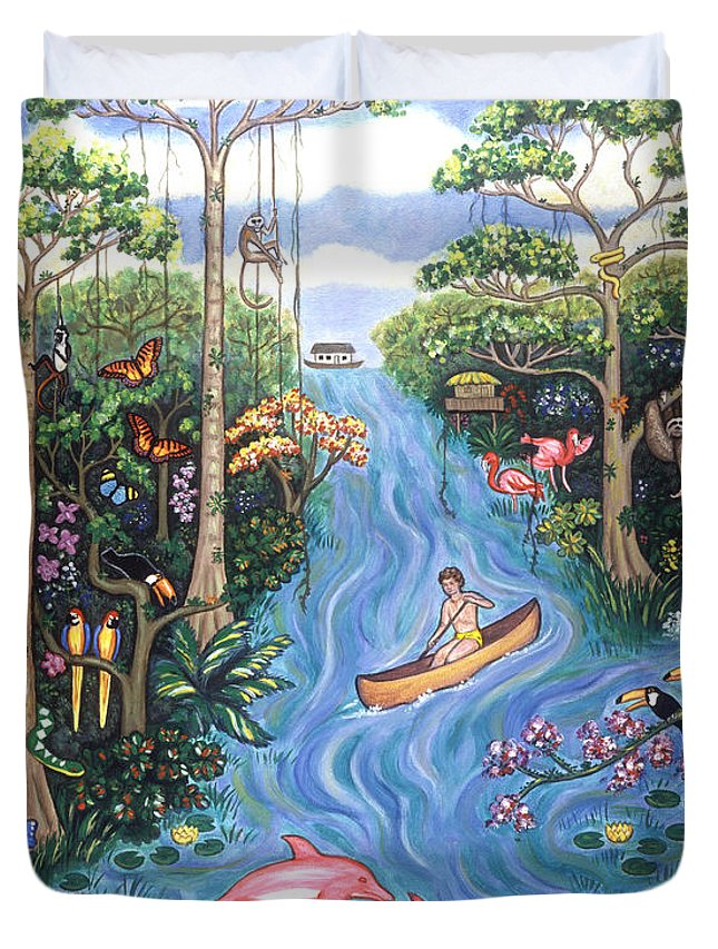 Landscapes Duvet Cover featuring the painting Lost In The Amazon by Linda Mears