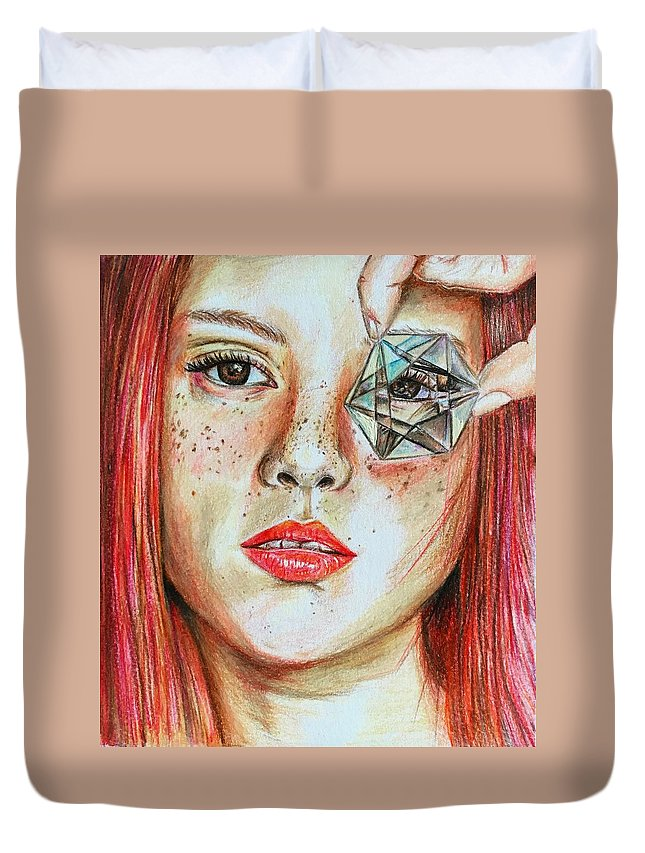 Girl Duvet Cover featuring the drawing Lost In Thoughts by Hadiqa Aamir