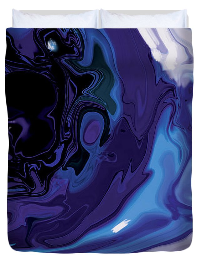 Blue Duvet Cover featuring the digital art Lost-in-to-the-eye by Rabi Khan