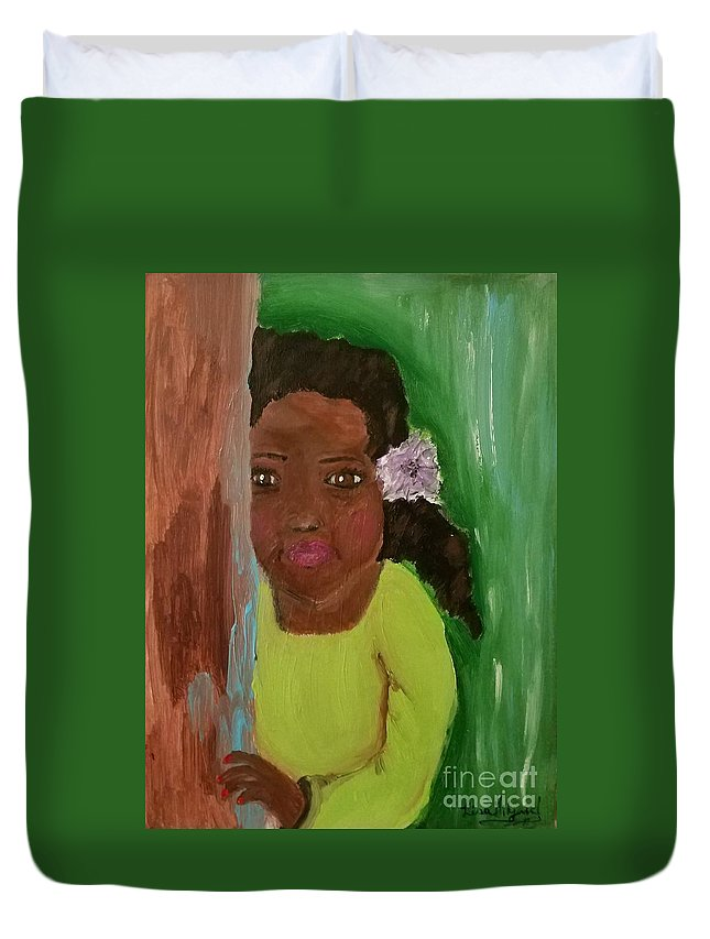 Girl Duvet Cover featuring the painting Lucky Lucy by Lisa Gilyard