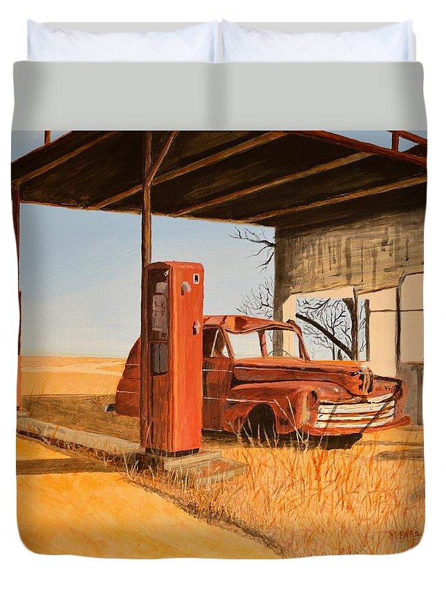 Car Duvet Cover featuring the painting Lost by Mike Parsons