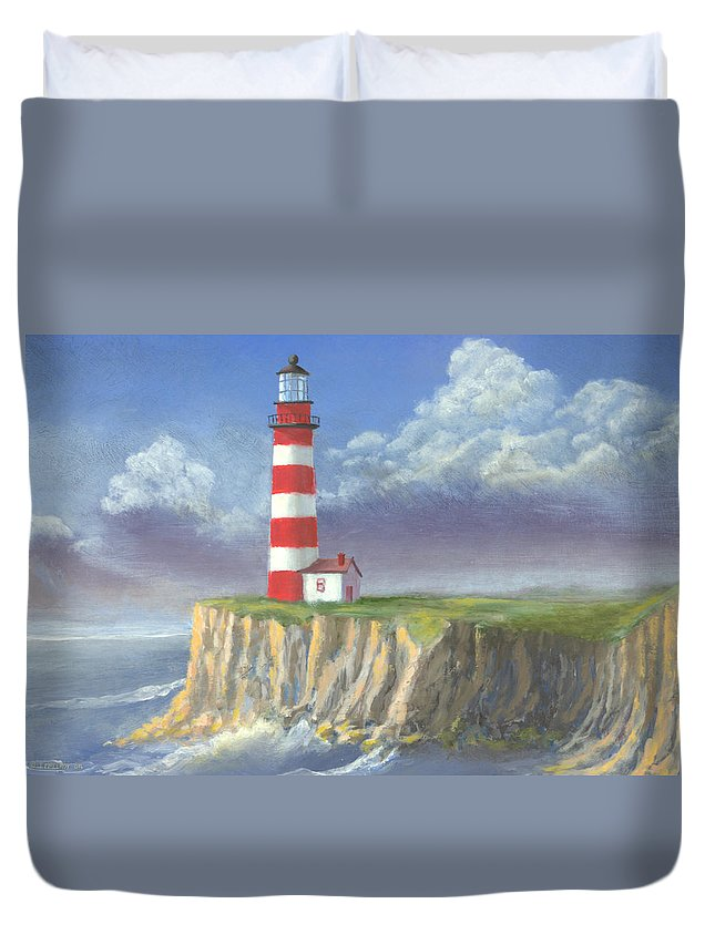 Light Duvet Cover featuring the painting Lost Point Light by Jerry McElroy