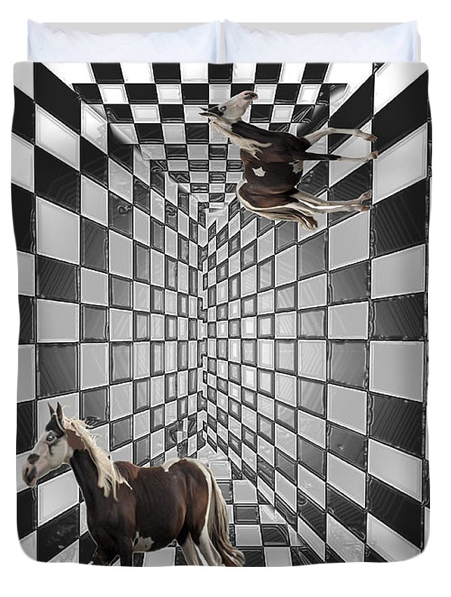 Horse Horses Lost Soul Maze Animal Black And White Paint Digital Artist Regina Sk Duvet Cover featuring the digital art Lost Souls by Andrea Lawrence