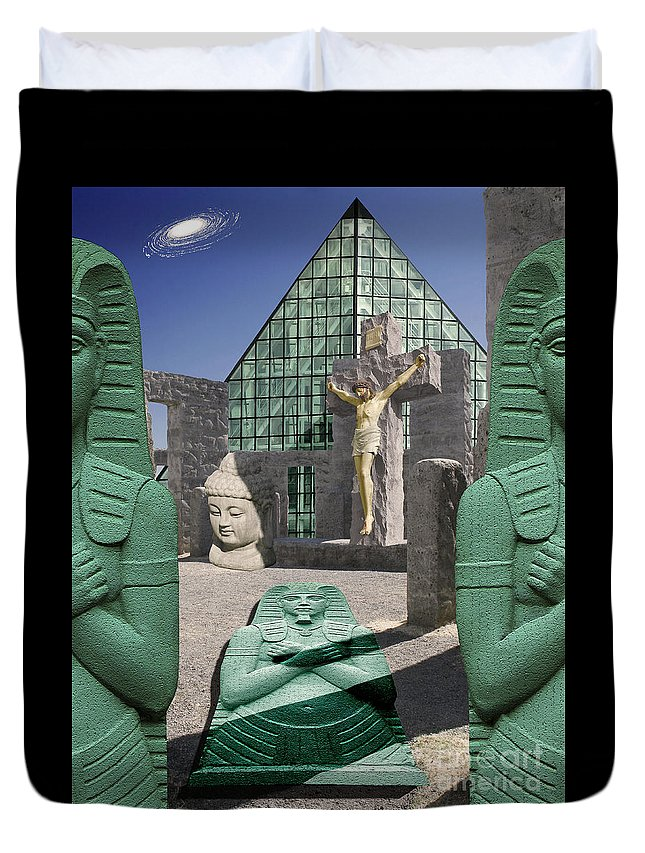 Library At Alexandria Duvet Cover featuring the digital art Lost Temple Of Alexandria by Keith Dillon