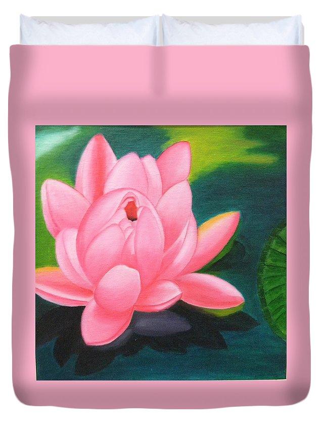 Flower Duvet Cover featuring the painting Lotus Bloom by Pragya Suman