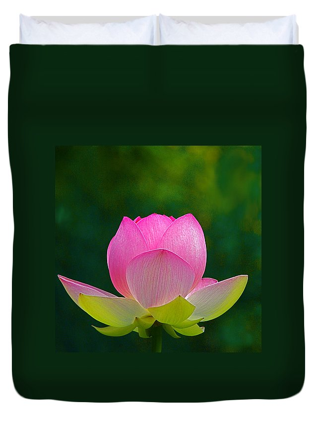 Flower Duvet Cover featuring the photograph Lotus Blossom 842010 by Byron Varvarigos