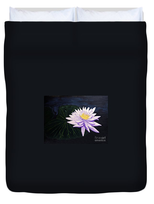 Original Painting Duvet Cover featuring the painting Lotus Blossom At Night by Patricia Griffin Brett