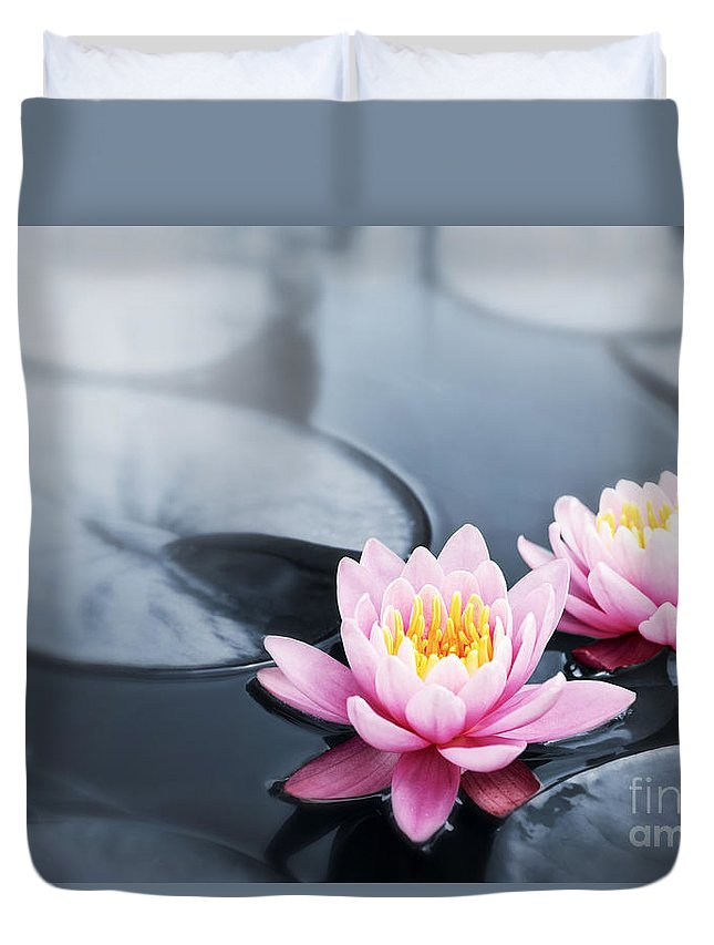 Blossoms Duvet Cover featuring the photograph Lotus Blossoms by Elena Elisseeva