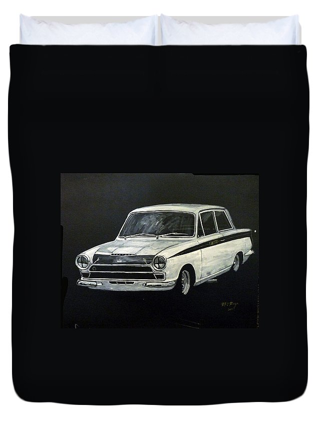 Lotus Cortina Duvet Cover featuring the painting Lotus Cortina by Richard Le Page