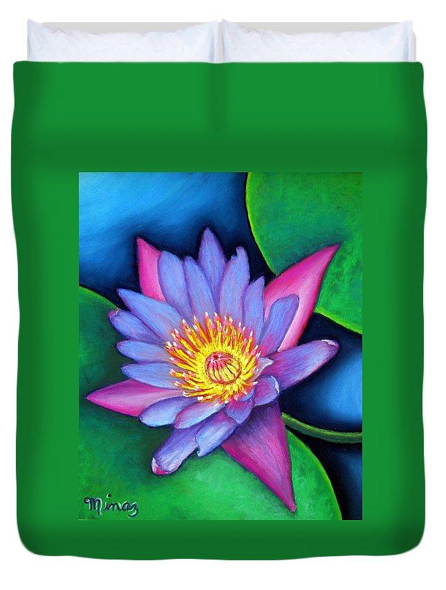 Flower Duvet Cover featuring the painting Lotus Divine by Minaz Jantz