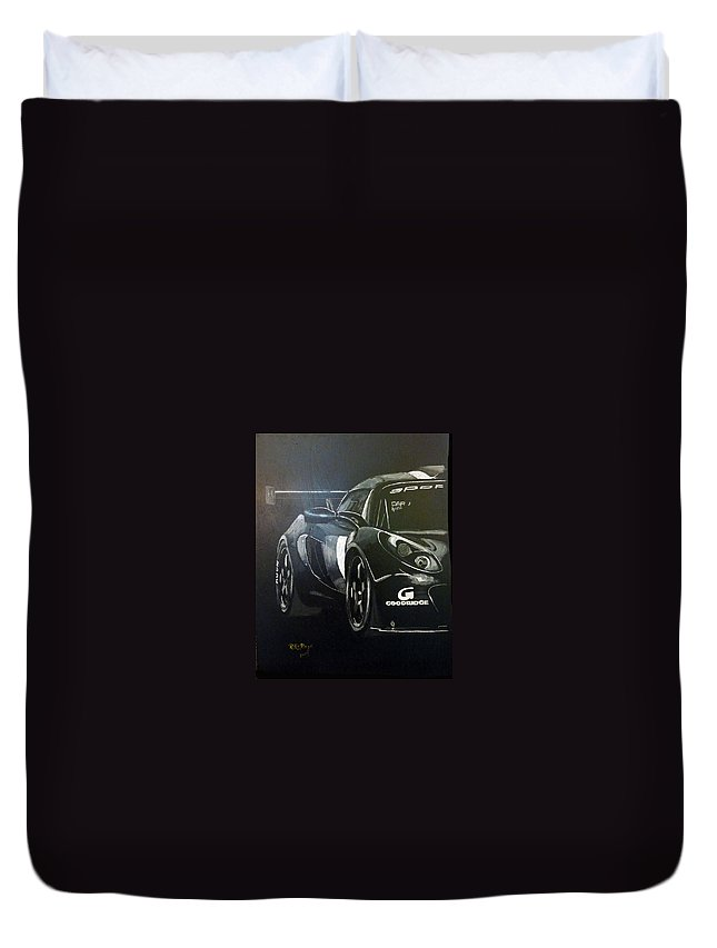 Lotus Exige Gt3 Duvet Cover featuring the painting Lotus Exige Gt3 Side by Richard Le Page