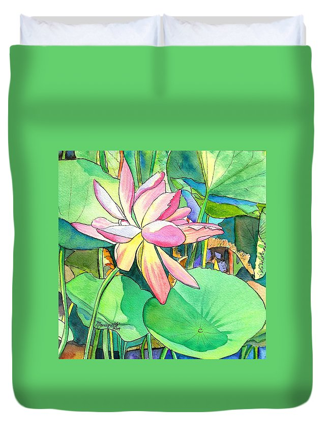 Kauai Duvet Cover featuring the painting Lotus Flower by Marionette Taboniar