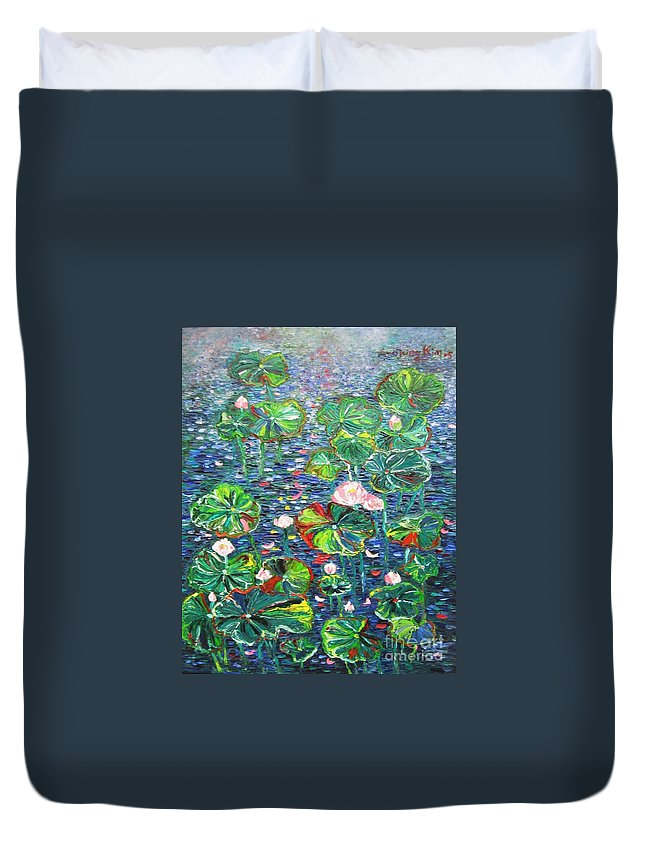 Water Lily Paintings Duvet Cover featuring the painting Lotus Flower Water Lily Lily Pads Painting by Seon-Jeong Kim