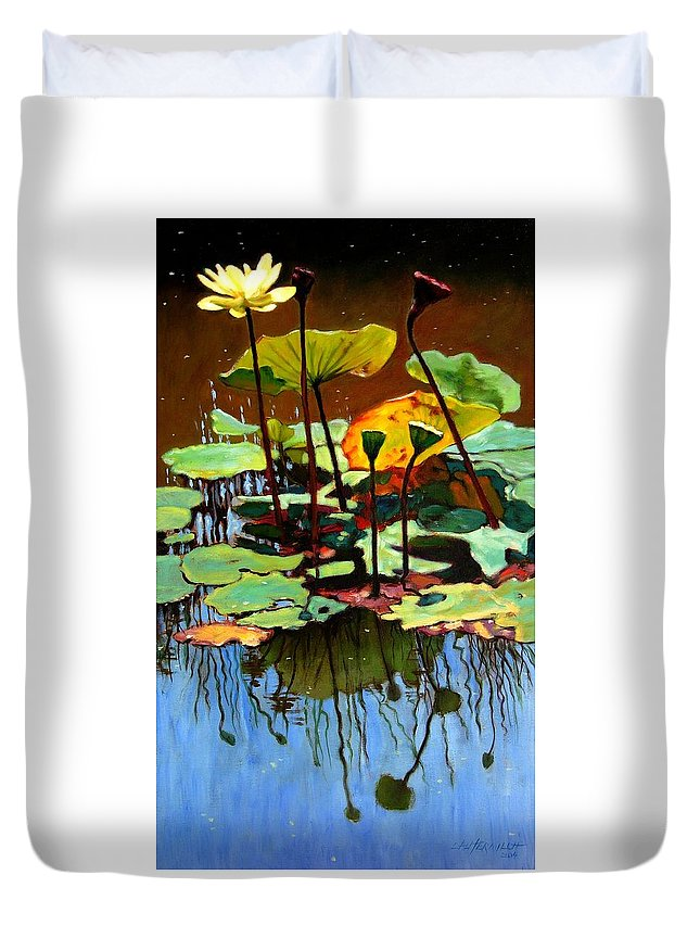 Lotus Flower Duvet Cover featuring the painting Lotus In July by John Lautermilch
