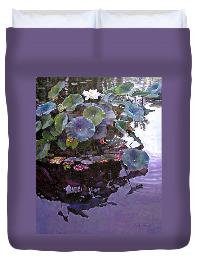 Lotus Flower Duvet Cover featuring the painting Lotus Reflections by John Lautermilch