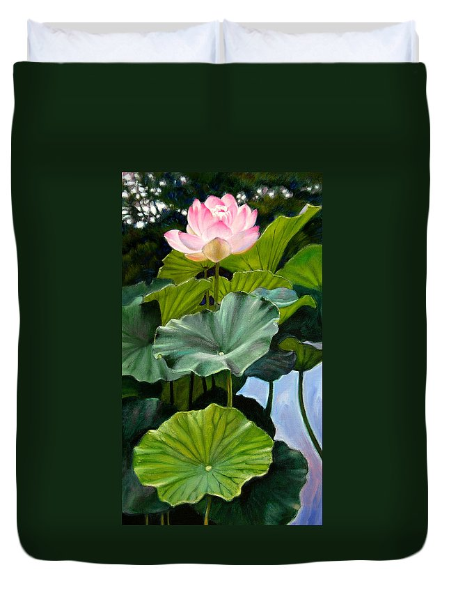 Lotus Flower Duvet Cover featuring the painting Lotus Rising by John Lautermilch