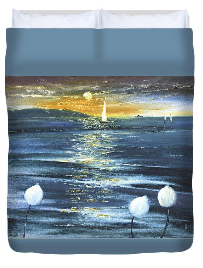Sea Duvet Cover featuring the painting Lotuses by Vera Persiyanova