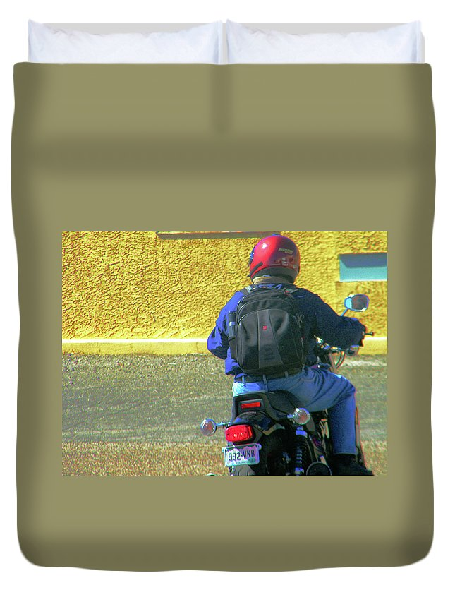 Abstract Duvet Cover featuring the photograph Lou Riding Away by Lenore Senior