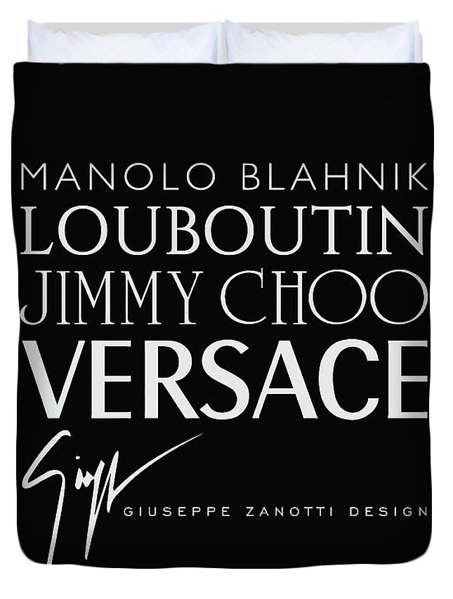 Manolo Blahnik Duvet Cover featuring the digital art Louboutin, Versace, Jimmy Choo - Black And White - Lifestyle And Fashion by TUSCAN Afternoon