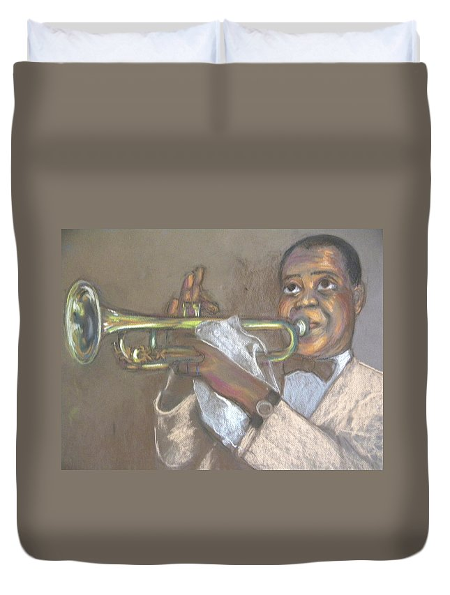 Entertainer Duvet Cover featuring the drawing Louie by Jan Gilmore