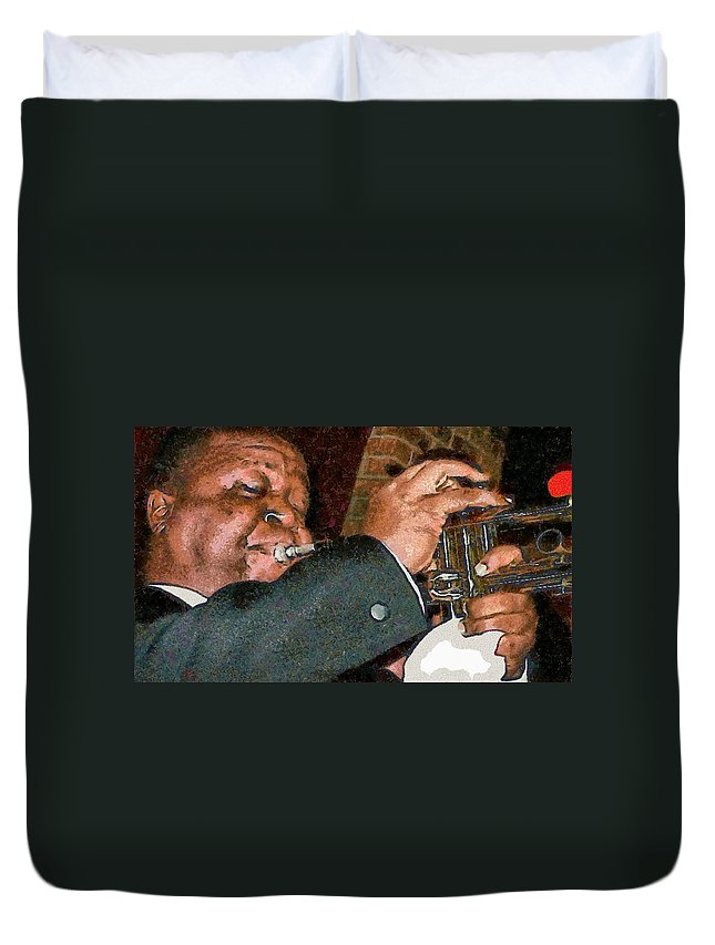 Louis Amstrong Duvet Cover featuring the photograph Louis Amstrong by Galeria Trompiz