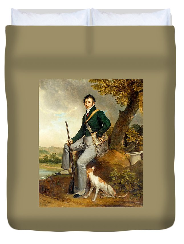 French Painters Duvet Cover featuring the painting Louis Duchanoy Hunting by Rene Theodore Berthon
