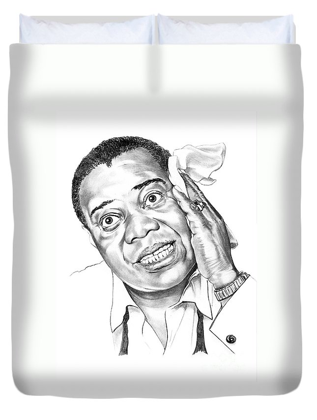Music Duvet Cover featuring the drawing Louis Satchmo Armstrong by Murphy Elliott