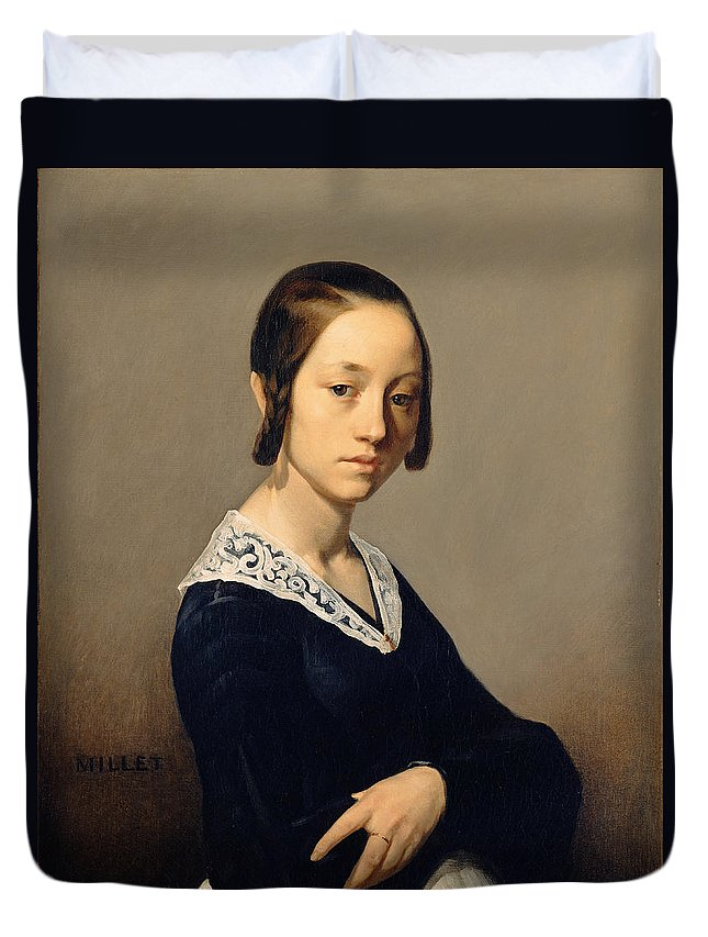 Jean Francois Millet Duvet Cover featuring the painting Louise-antoinette Feuardent by Jean Francois Millet