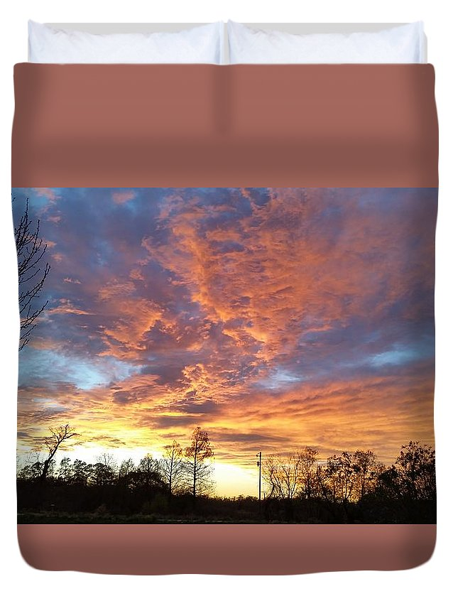 Louisiana Duvet Cover featuring the photograph Louisiana Sunset 1 by Adele Fulcher