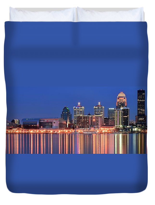 Louisville Duvet Cover featuring the photograph Louisville Panoramic At Blue Hour by Frozen in Time Fine Art Photography