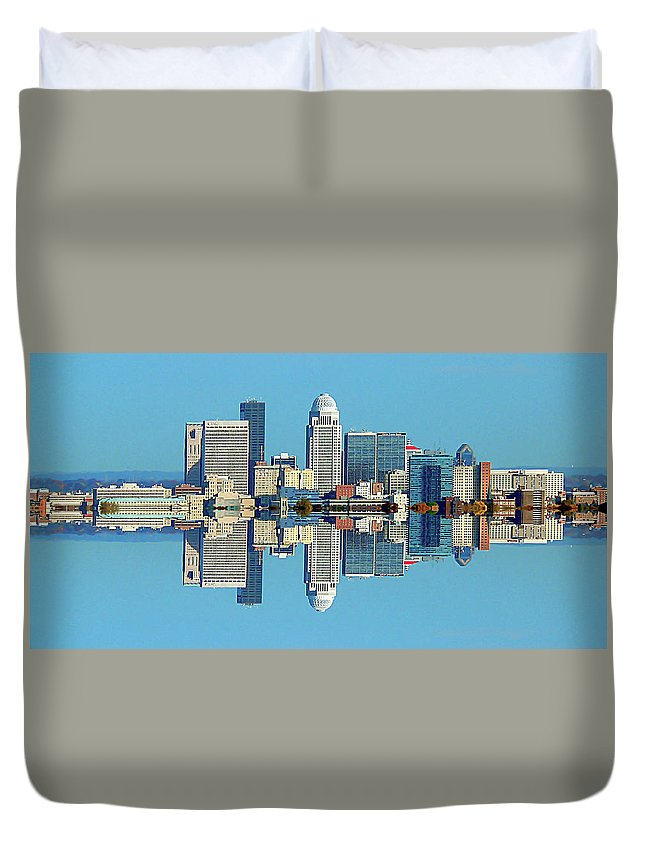 Louisville Duvet Cover featuring the photograph Louisville Skyline Reflection by Kevin Jackson
