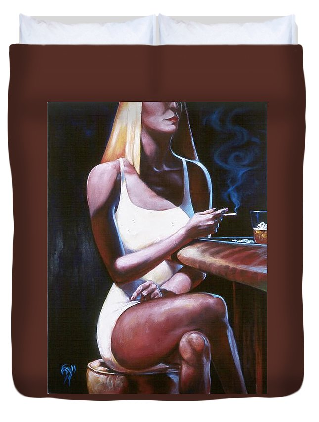 Figure Duvet Cover featuring the painting Lounge Lizard's Eye View by T Ezell
