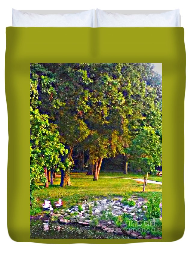 Lounging Duvet Cover featuring the painting Lounging On The Green by PrettTea Art Gallery By Teaya Simms