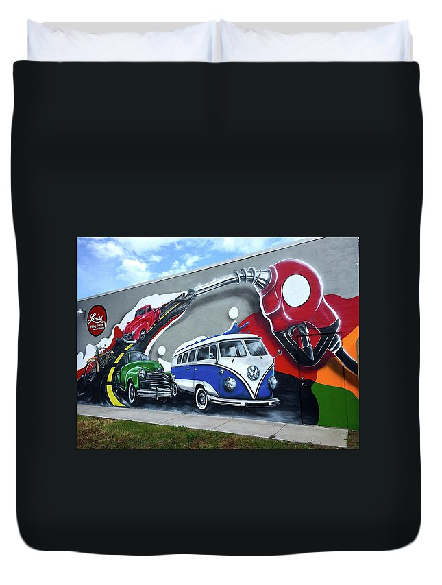 Eatery Duvet Cover featuring the photograph Lou's Filling Station by Denise Mazzocco