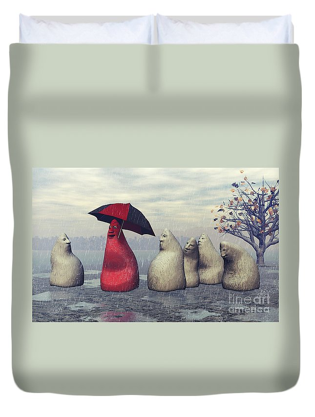3d Duvet Cover featuring the digital art Lousy Weather by Jutta Maria Pusl