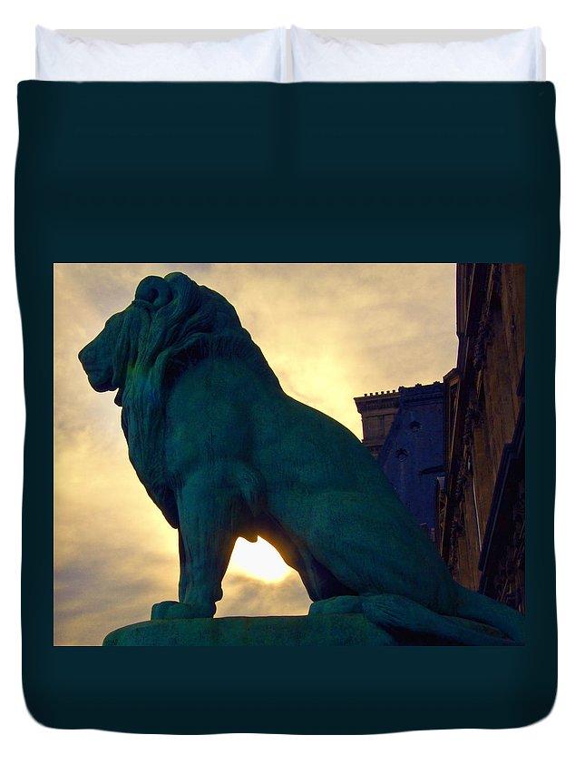 Lion Duvet Cover featuring the photograph Louve Lion by John Hansen