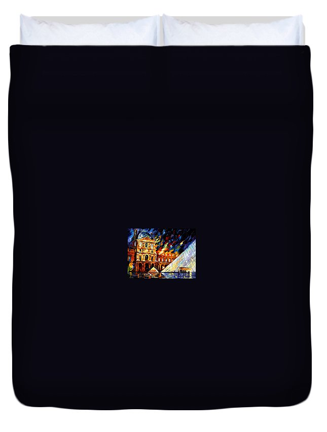Afremov Duvet Cover featuring the painting Louvre Museum by Leonid Afremov