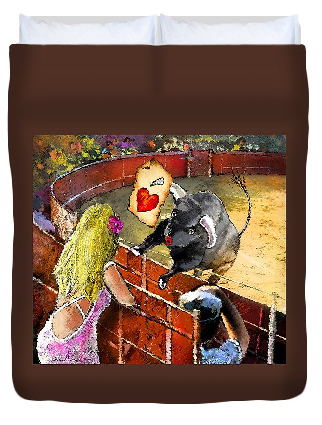 Bullfight Duvet Cover featuring the painting Lova Bull by Miki De Goodaboom