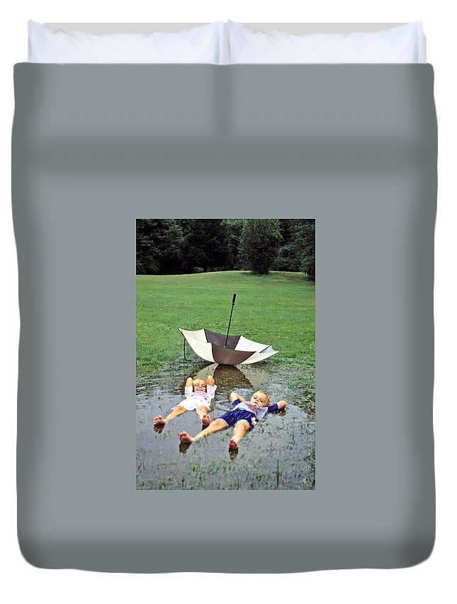 Children Duvet Cover featuring the photograph Love A Rainy Day Series by Laurie Paci