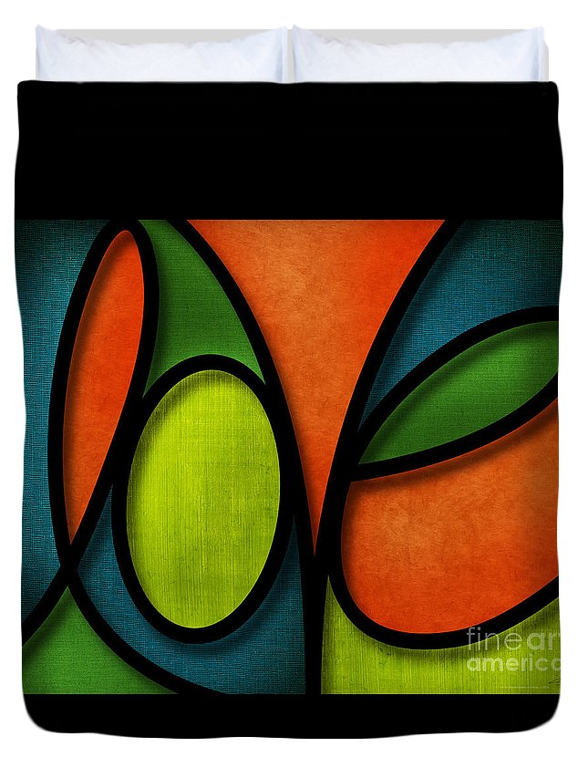 Love Duvet Cover featuring the mixed media Love - Abstract by Shevon Johnson