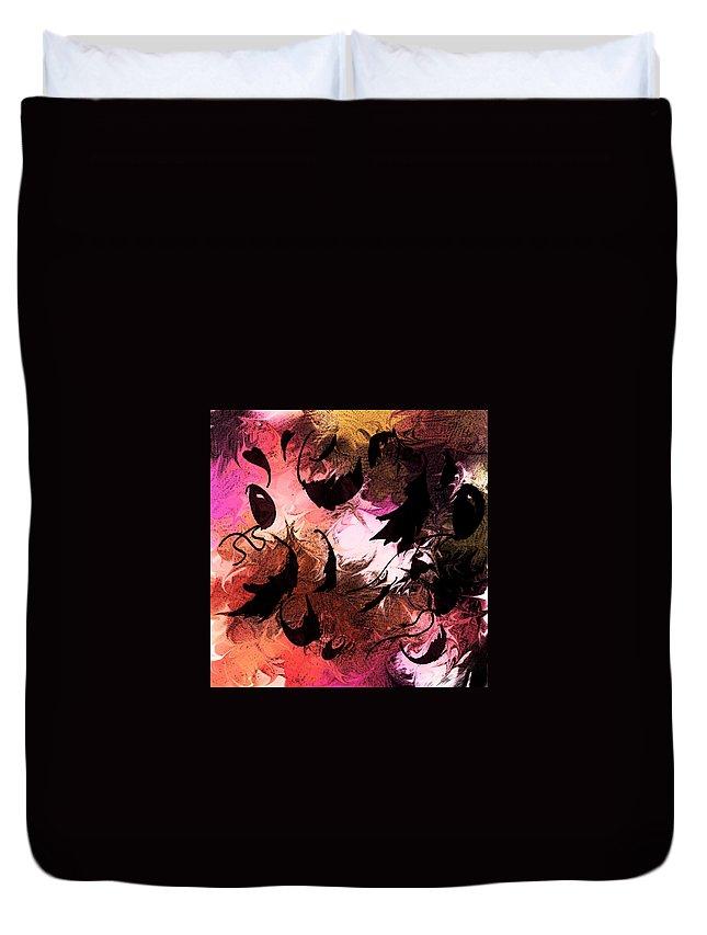 Abstract Duvet Cover featuring the digital art Love Affair by Rachel Christine Nowicki