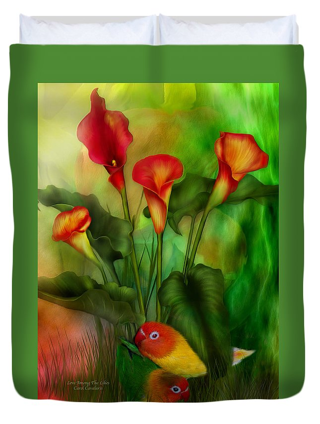 Lovebird Duvet Cover featuring the mixed media Love Among The Lilies by Carol Cavalaris