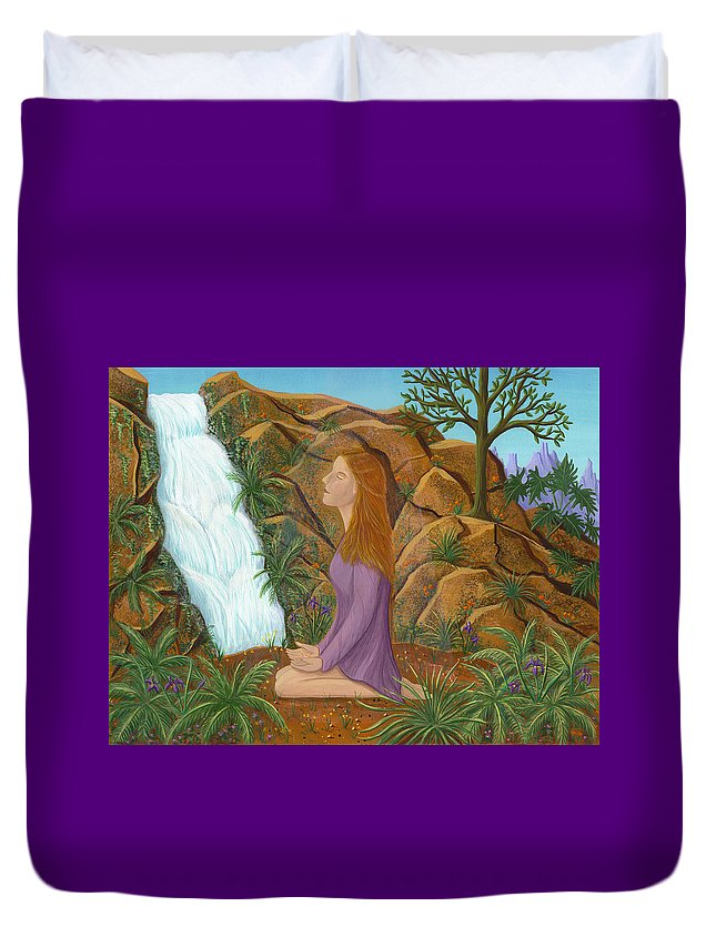 Meditation Duvet Cover featuring the painting Love And Gratitude Meditation - Illustration #13 In The Infinite Song by Andrea Freeman