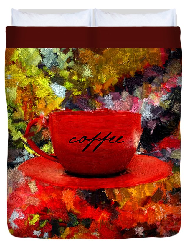 Coffee Duvet Cover featuring the digital art Love At First Sip by Lourry Legarde