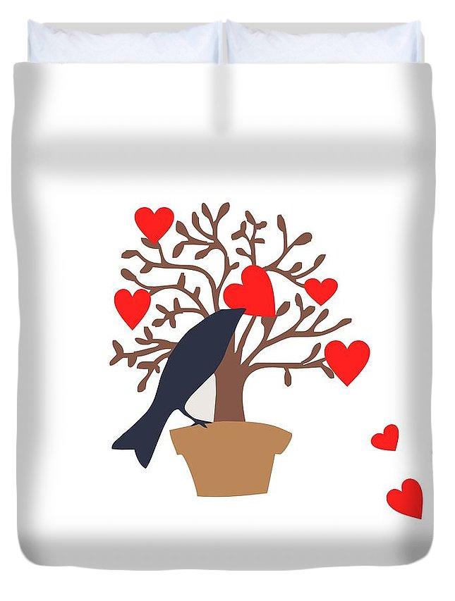 Love Bird Part 2 Duvet Cover featuring the digital art Love Bird Part 2 by Priscilla Wolfe