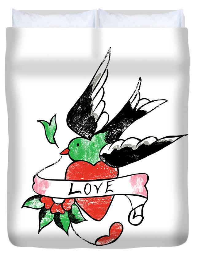 Tattoo Duvet Cover featuring the digital art Love Bird Tattoo by Bob Newman