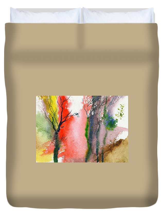 Landscape Duvet Cover featuring the painting Love Birds 2 by Anil Nene