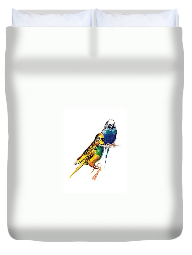 Nature Duvet Cover featuring the painting Love Birds by Anil Nene